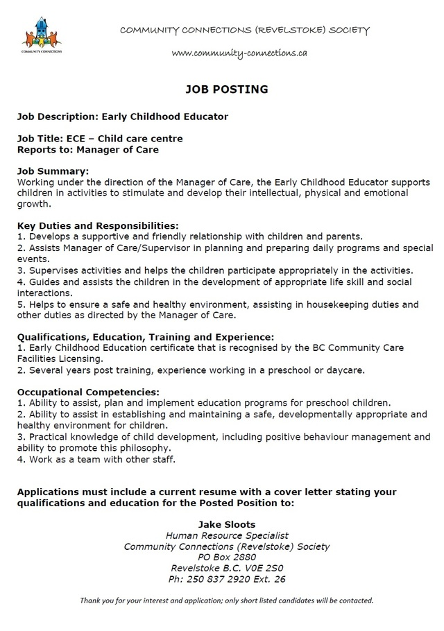 early childhood educator cover letters